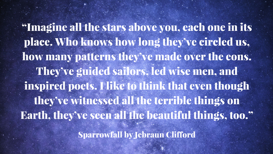 """""""Imagine all the stars above you, each one in its place. Who knows how long they've circled us, how many patterns they've made over the eons. They've guided sailors, led wise men, and inspired poets._ Sparrowfall by .png"""